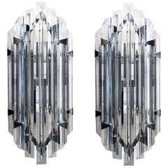 Alberto Donà Mid-Century Modern Crystal Pair of Murano Glass Wall Sconces, 1990