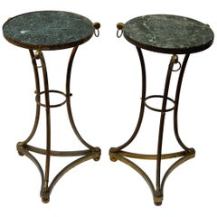Pair of Pedestal Table in Gilt Bronze with Top in Green Marble, 1950-1970