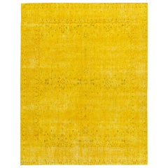 Vintage Distressed Overdyed Yellow Wool Rug