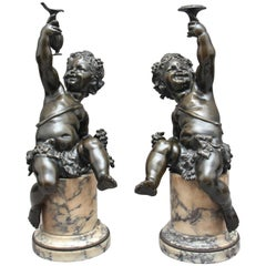 Pair of 19th Century French Bronze Putti on Marble Bases