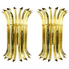 Alberto Donà Mid-Century Modern Amber Pair of Murano Glass Wall Sconces, 1985s