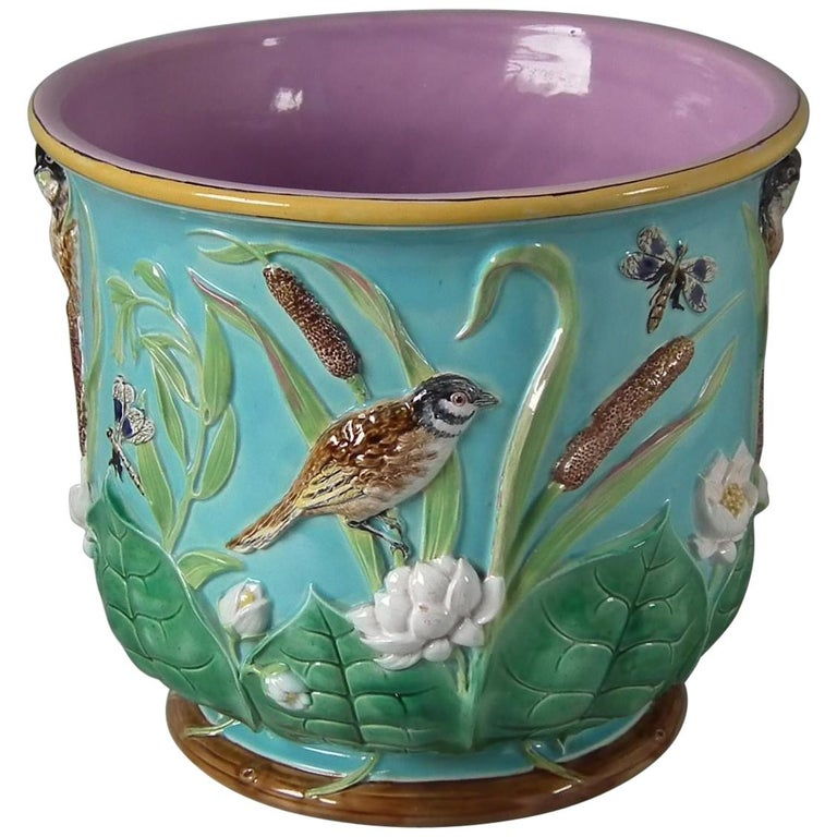 Large George Jones Majolica Bird and Pond Lily Jardinière For Sale
