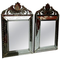 1950s Pair of Venetian Mirrors with Floral Decor and Pediment
