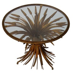 1970s Wheat Sheaf Table with Belt and Glass Tray in the Style of Coco Chanel