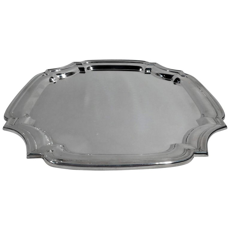 American Sterling Silver Square Georgian-Style Tray For Sale
