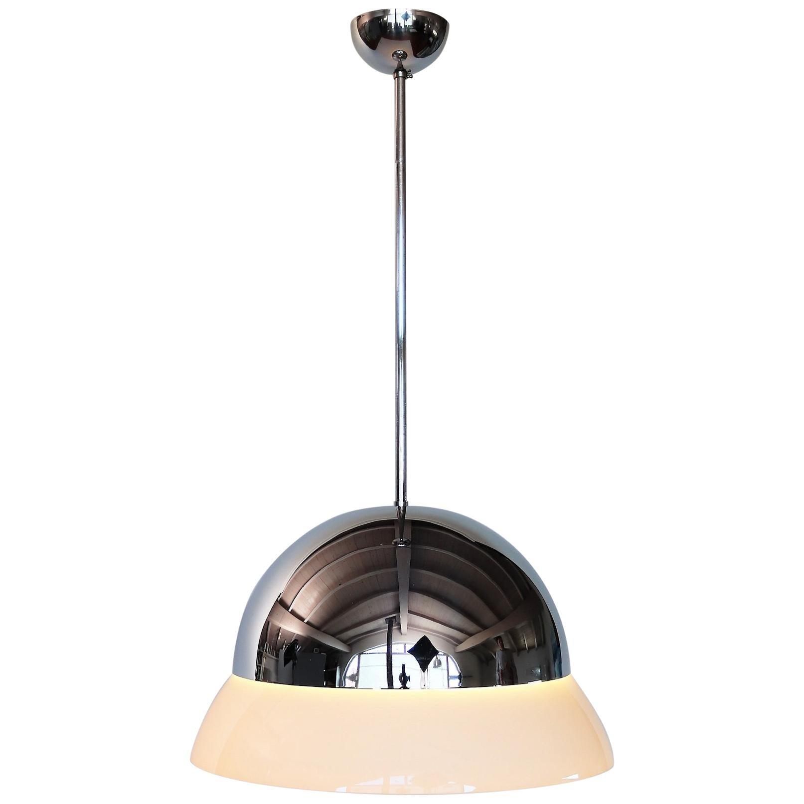 Italian Glass and Chrome Pendant Lamp CIRENE by Vico Magistretti for Artemide