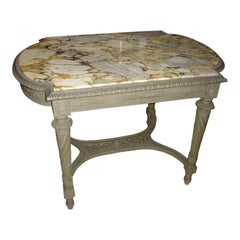 19th Century French Carved and Painted Center Table with Marble Top