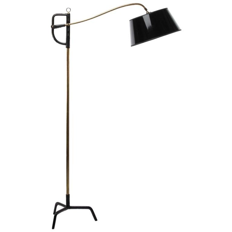 French Midcentury Floor Lamp Jacques Adnet, Steel, Black Leather, Brass For Sale