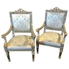 Pair of French Silver Gilt 1920s Louis XVI Style Armchairs