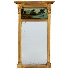 Small Regency Period Early 19th Century Eglomisé Pier Mirror