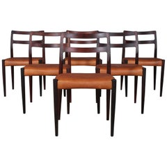 Johannes Andersen Six Dining Chairs, Model Anna, Rosewood and Leather Upholstery