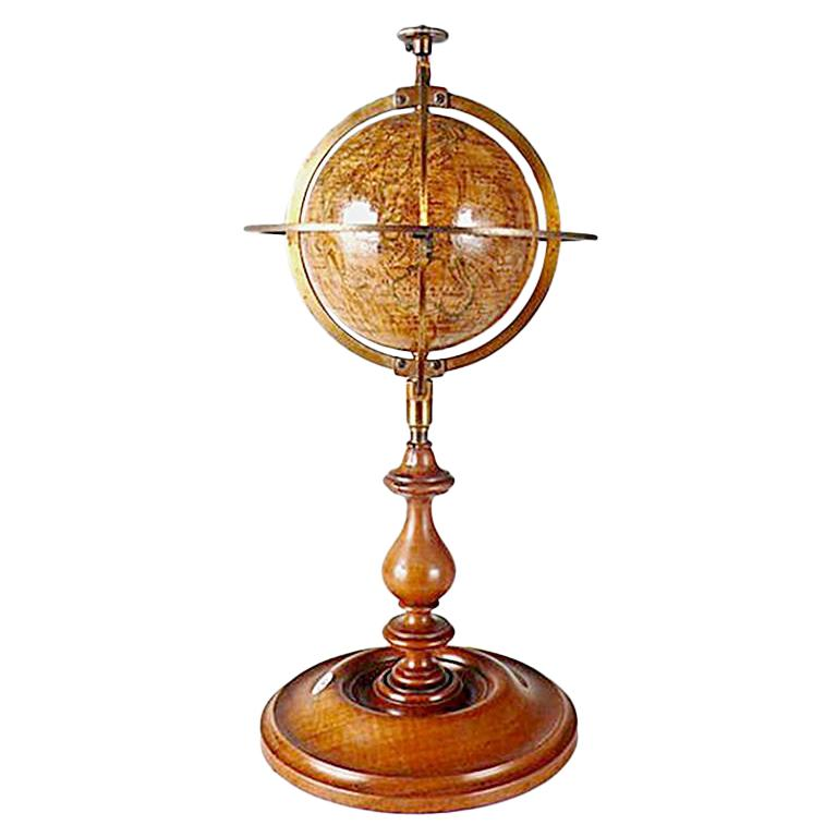 3 Inches French Terrestrial Globe by Delamarche, 1864 For Sale