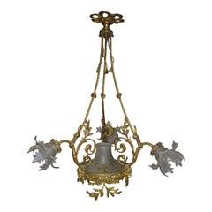 Renaissance Style Gilt-Bronze and Patinated Bronze Chandelier