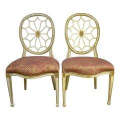 Pair of Painted Spider Back Chairs with Patterned Upholstery