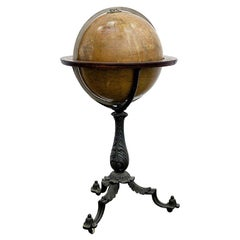 English 19th Century Library Terrestrial Globe, Cast Iron Base