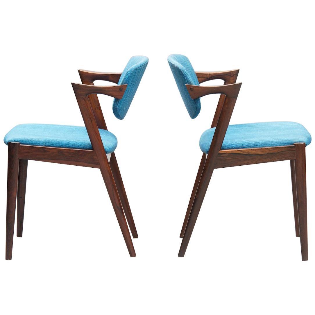 Kai Kristiansen Rosewood Dining Chairs, Model 42, Set of Six, 1960s.