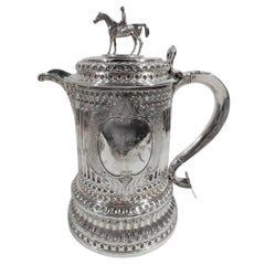 English Classical Sterling Silver Horse Race Trophy in Form of Columnar Tankard