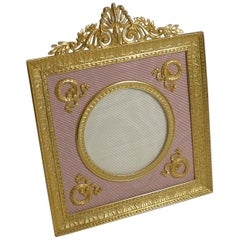 Pretty Antique French Gilded Bronze Picture Frame, Pink Taffeta