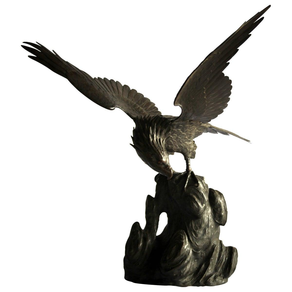 19th Century Japanese Bronze Eagle Meiji Period
