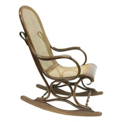 Bended Beechwood Rocking Chair with Rattan Seat, circa 1900