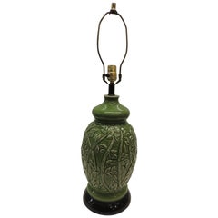 Vintage Tall Green and Black Ceramic Table Lamp