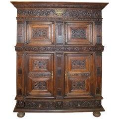 19th Century German Carved Oak Court Cupboard