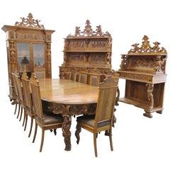 19th Century Renaissance Style Dining Room Set Attr Luigi Frulini