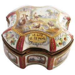 19th Century Porcelain Box Le Coq el le perle, Marked Sceaux