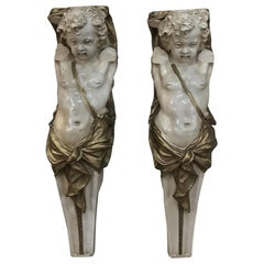 Pair 19th Century Carved Wood Polychrome Cherub Statues