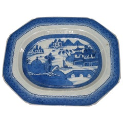19th Century Chinese Export Blue and White Canton Ware Deep Platter