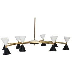 20th Century Italian Design Enamel and Brass Chandelier by Stilnovo, 1950s