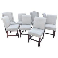 Set of Eight Custom Cream Upholstered Mahogany Dining Chairs
