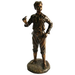 20th Century French Bronze Figure of a Boy, Hand-Crafted Sculpture