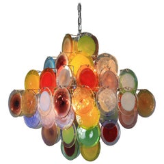 Murano Glass Chandelier with Vistosi Glass Disks