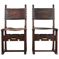 Pair of 20th Century South American Side Chair with Leather Seat and Back