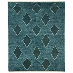 New Contemporary Moroccan Texture Area Rug Geometric Diamond Pattern