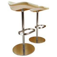 Pair of Cream Leather Walter Knoll Turtle Bar / Counter Stools, Pearson Lloyd