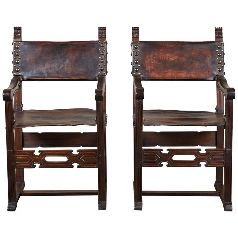 Pair of 20th Century South American Armchairs with Leather Seat and Back For Sale