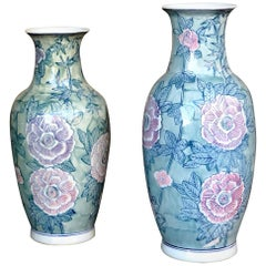 Pair of Chinese Large Flower Vases