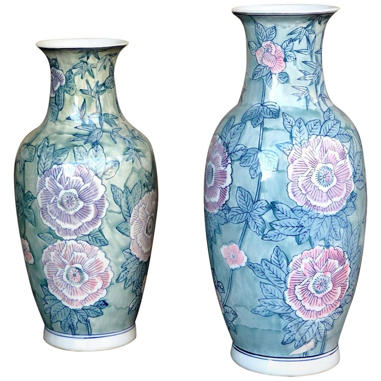 Pair of Chinese Large Flower Vases ON SALE  For Sale