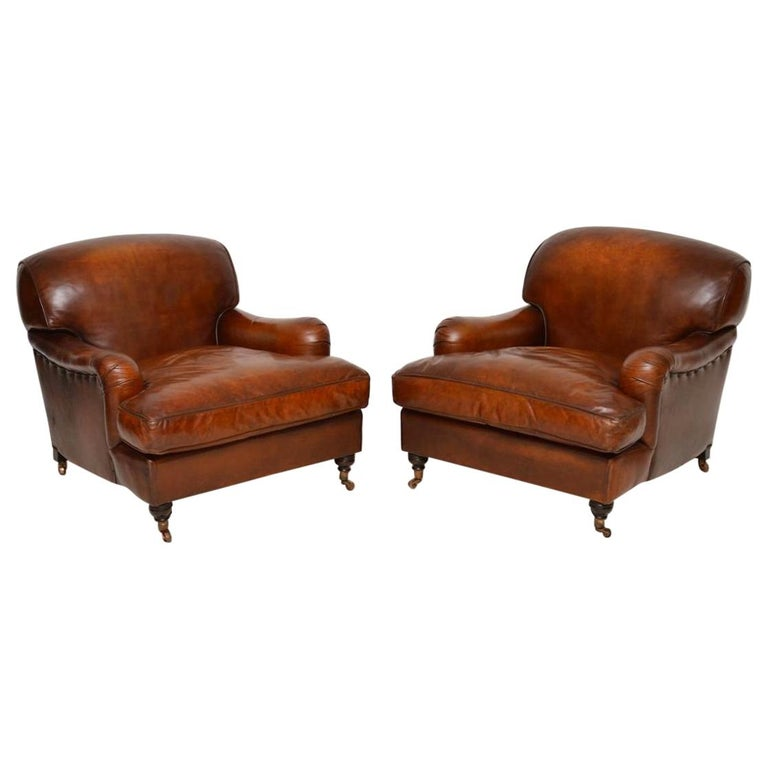 Large Pair of Leather Antique 'Howard' Style Armchairs For Sale