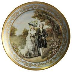 20th Century Austrian Porcelain Plaque, Vienna Charger Lady and Gentlemen,