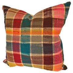 Custom Pillow by Maison Suzanne, Cut from a Vintage Moroccan Cotton Berber Haik