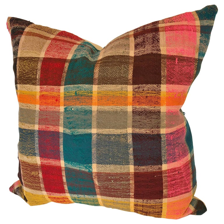 Custom Pillow by Maison Suzanne, Cut from a Vintage Moroccan Cotton Berber Haik For Sale