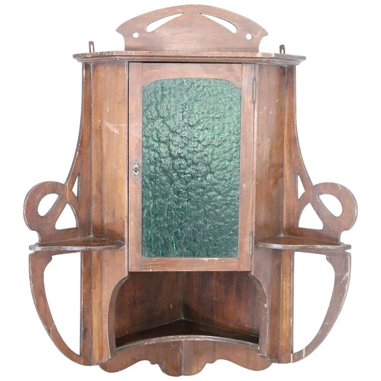 20th Century Art Nouveau Corner Cupboard or Corner Cabinet in Poplar Wood For Sale
