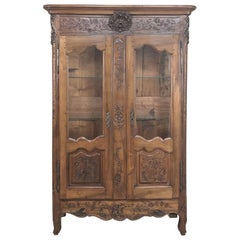 19th Century Country French Provincial Fruitwood Vitrine, Bookcase