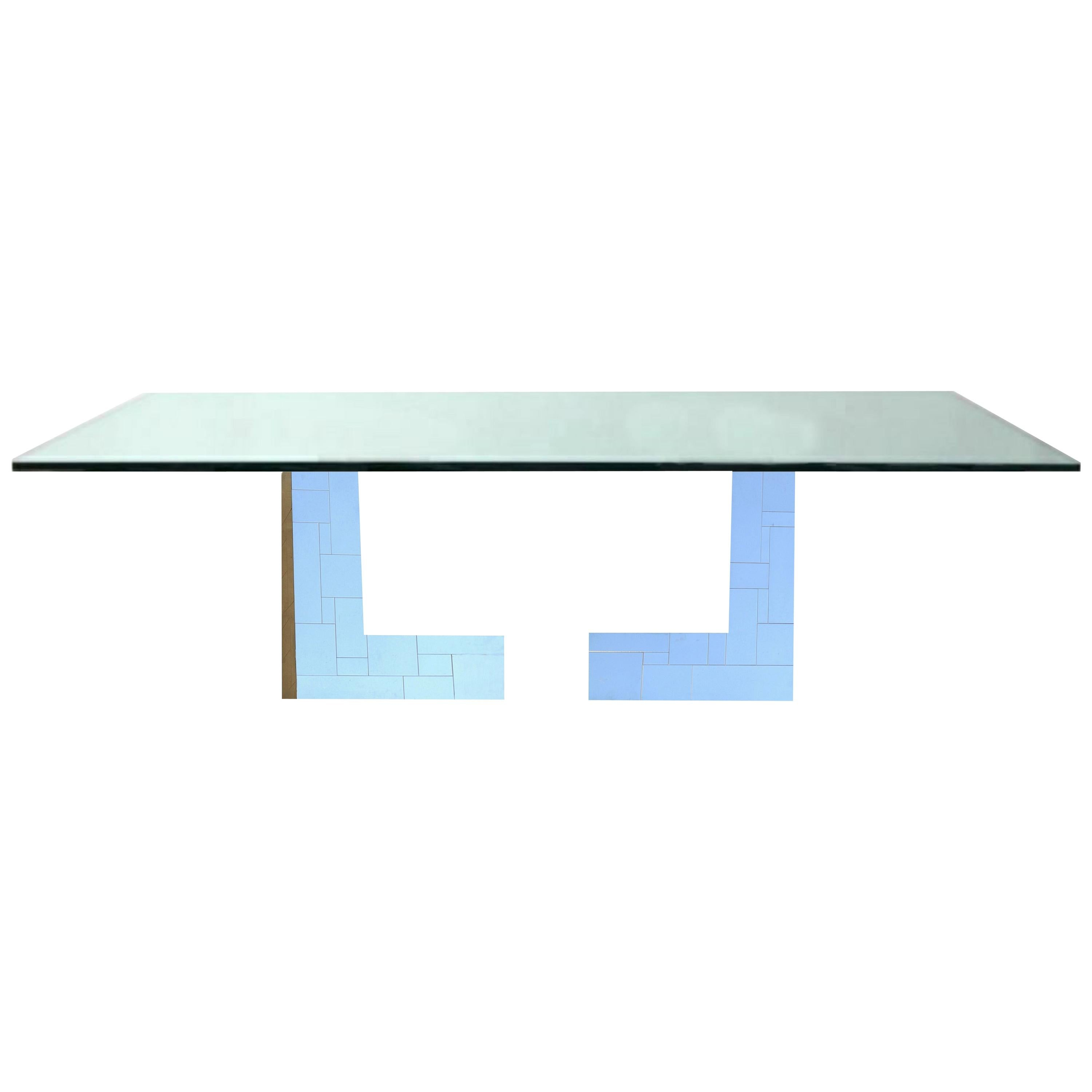 Paul Evans Glass Top Cityscape Citiscape Signed Dining Table