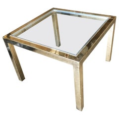Milo Baughman Style Brass Glass Top Side Table