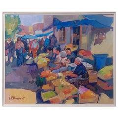 'Market Scene' Oil on Board Contemporary Painting by Bedros Aslanian