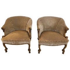 Smashing Pair of Hollywood Regency Gilded Rope and Tassel Club Lounge Chairs